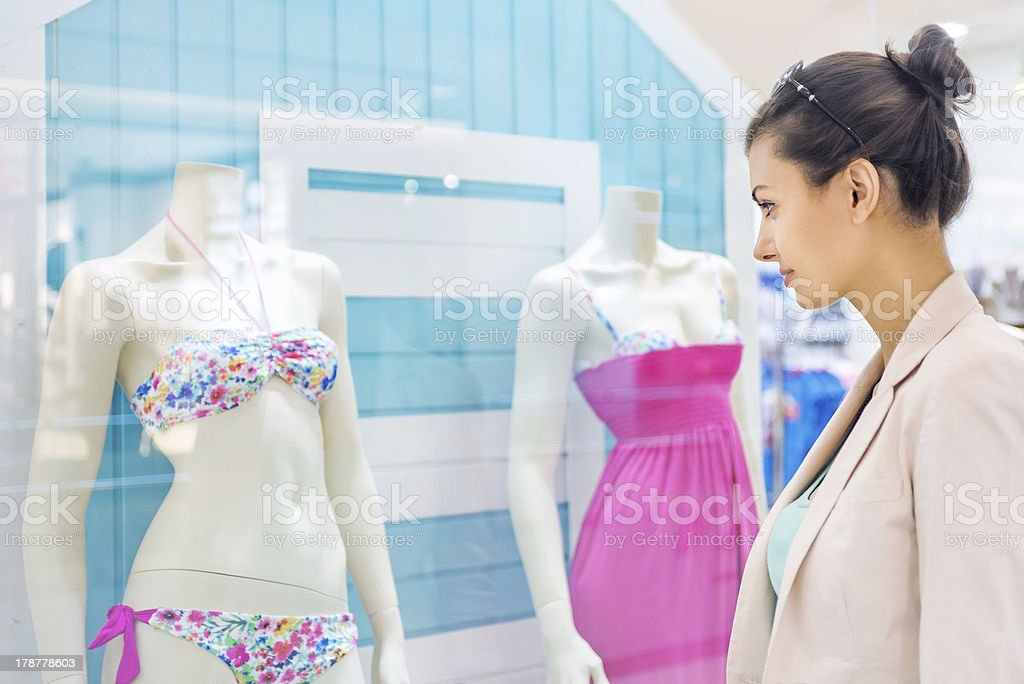 Shopping time, woman at mall stock photo
