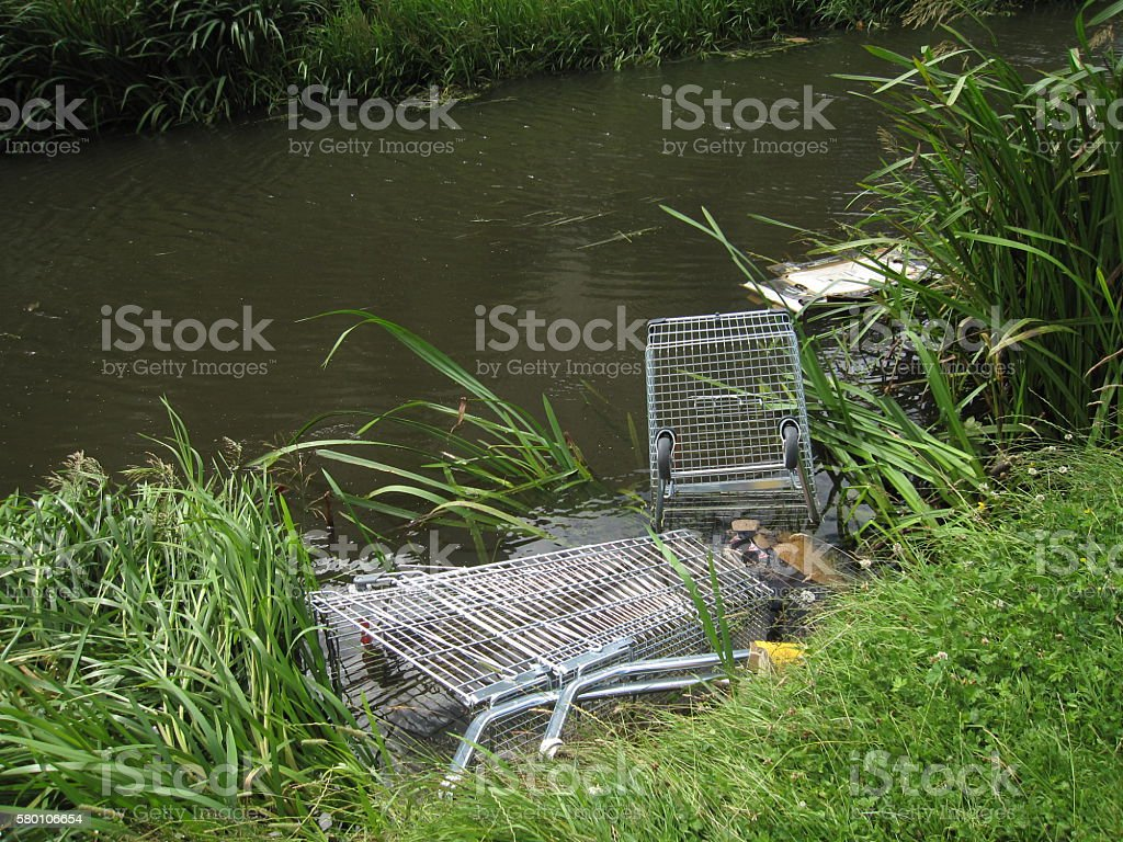 Shopping Trolley Abandoned in a Canal stock photo
