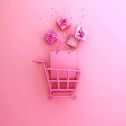 Shopping trolley cart and shopping bag on pink background. Design creative concept of happy valentines day. 3D rendering illustration.