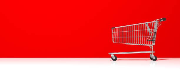 alışveriş arabası kırmızı duvar arka plan, afiş, kopya alanı boş. 3d çizim - sepet stok fotoğraflar ve resimler