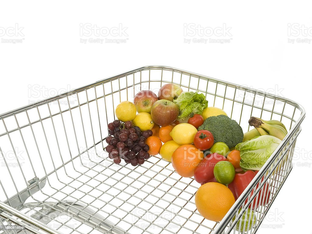 Foto De Carrinho De Compras Repleto De Frutas Verduras E Legumes E Mais Fotos De Stock De Aço Istock