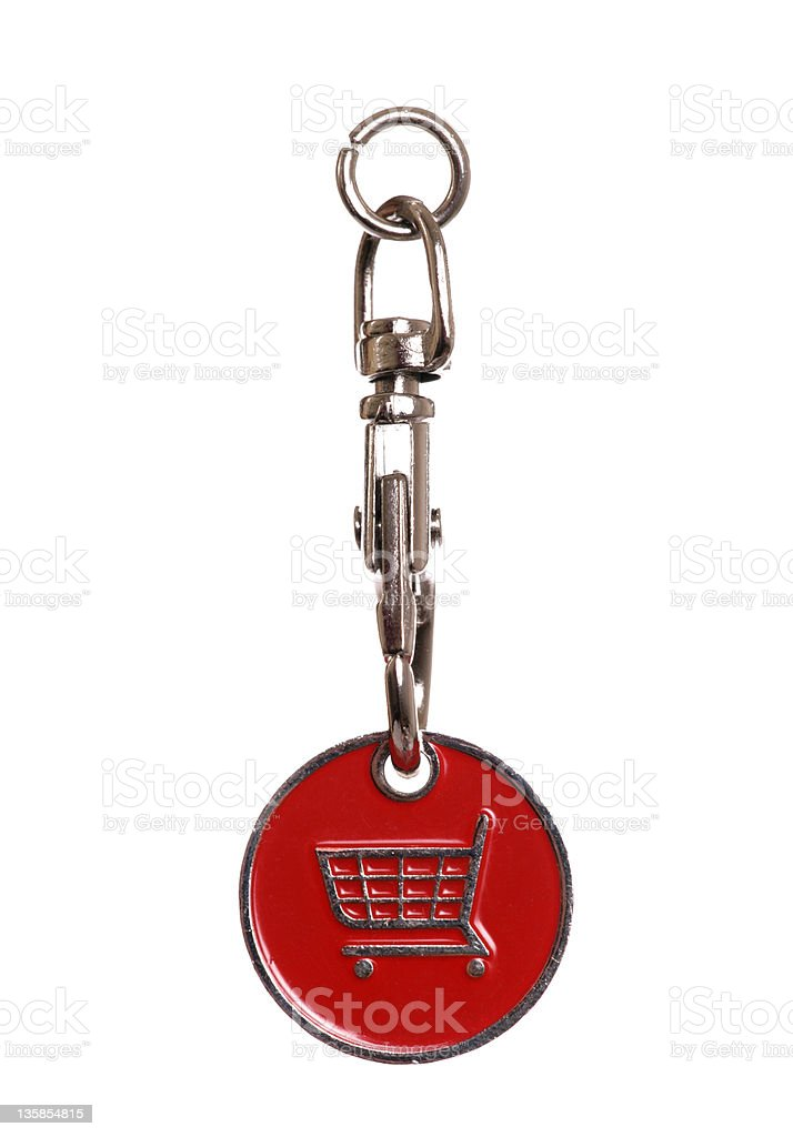 shopping trolley token stock photo