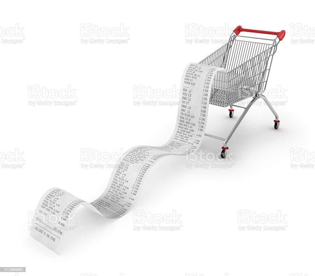 Einkaufswagen mit langen Belege über – Foto