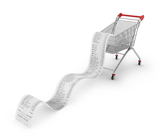 shopping trolley with long receipts over - receipt stock photos and pictures