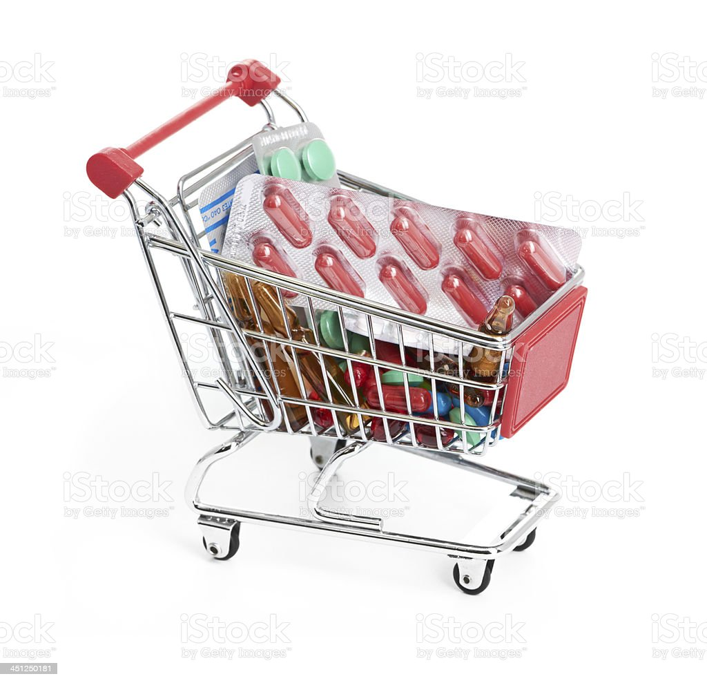 Shopping trolley with pills and medicine royalty-free stock photo