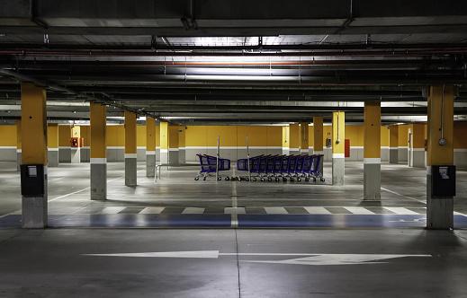 Shopping trolleys in parking
