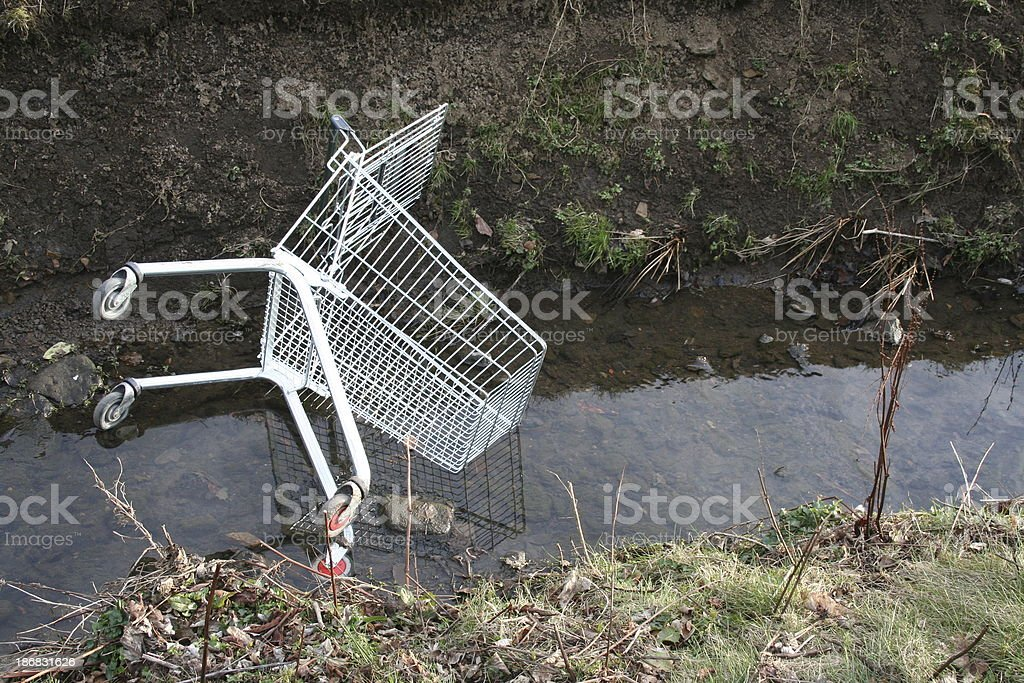 Shopping trolly in a stream stock photo