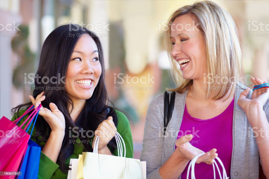 Shopping with a friend royalty-free stock photo