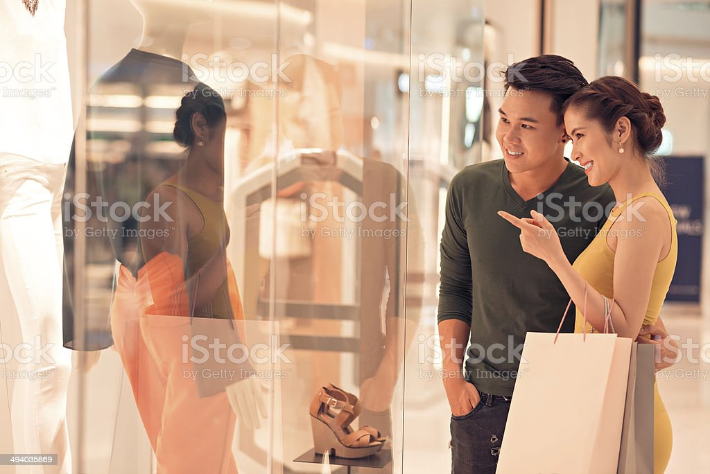 Shopping with husband stock photo