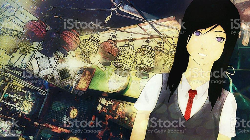 Shopping with Kizashi stock photo