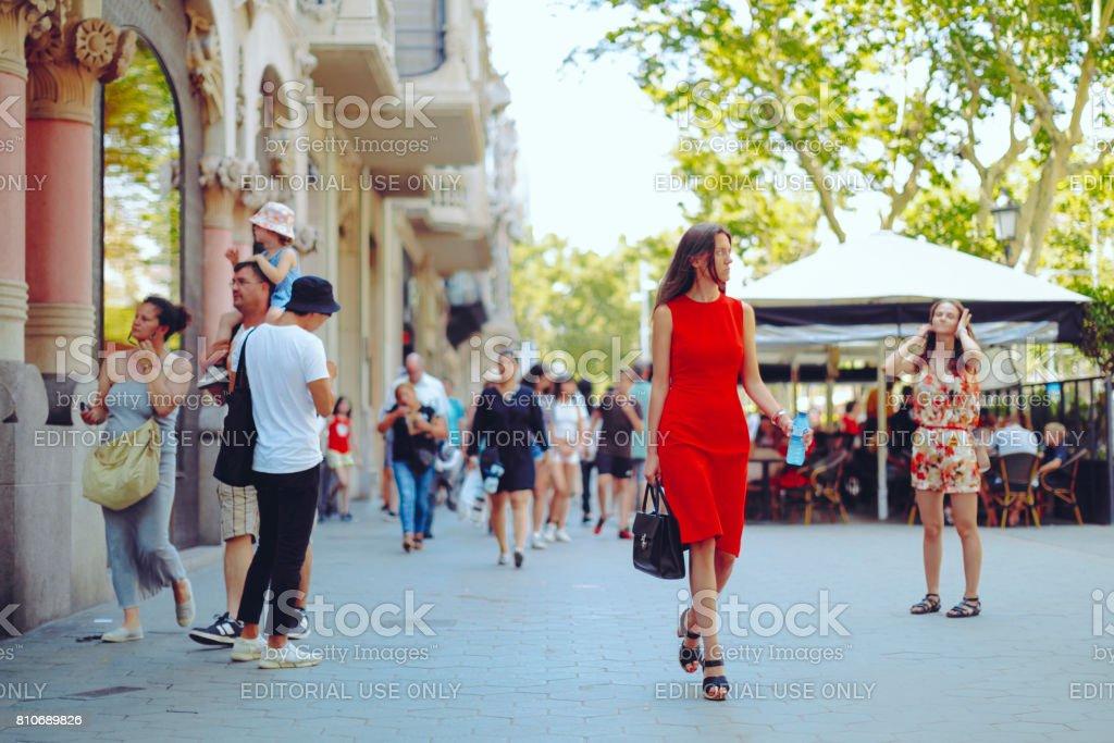Shopping woman, Barcelona - Spain stock photo
