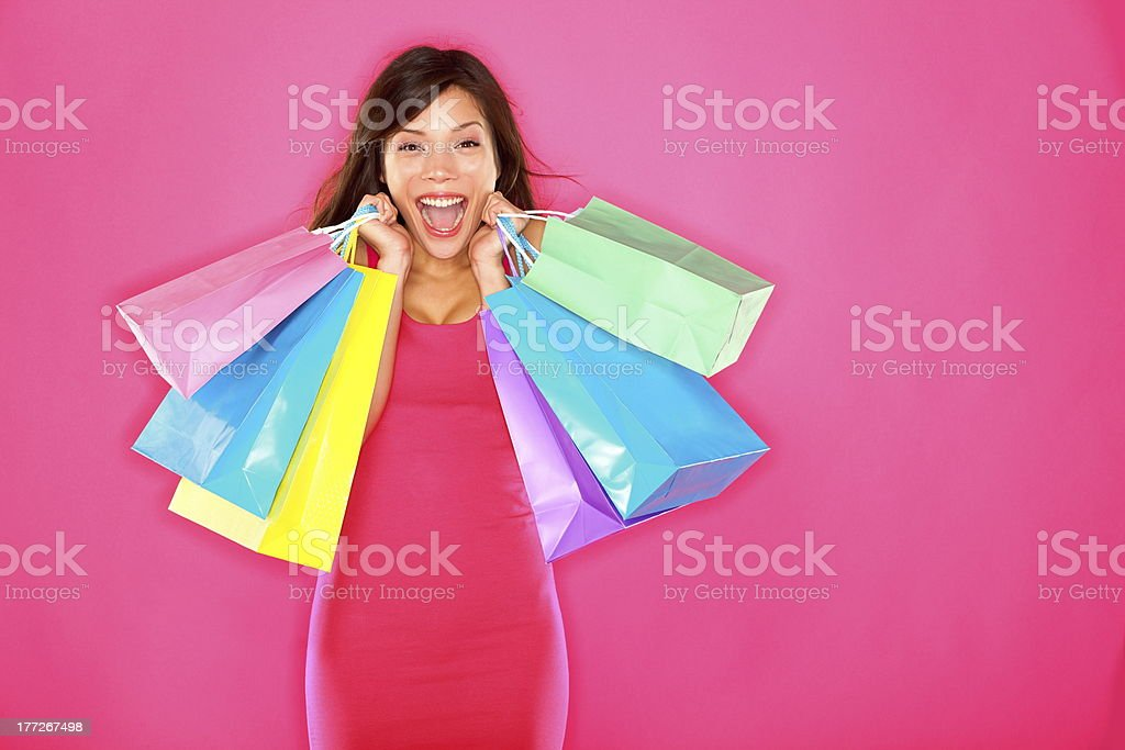 Shopping woman happy excited royalty-free stock photo