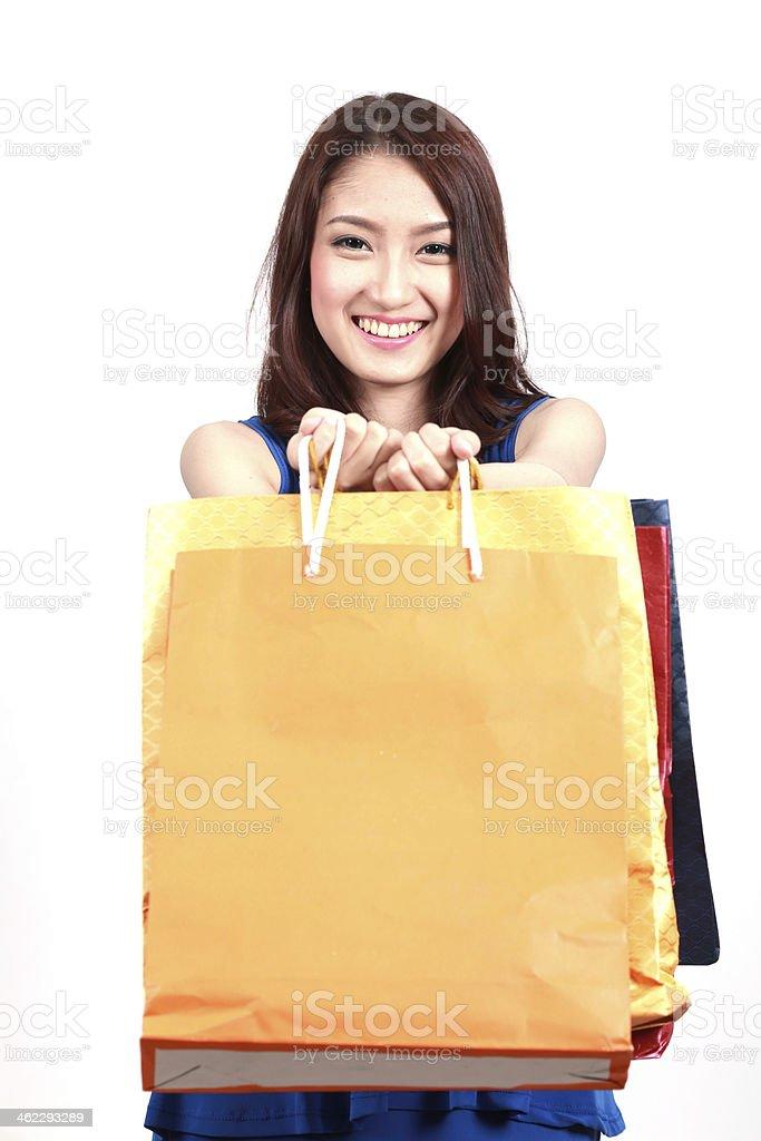 Shopping woman happy stock photo