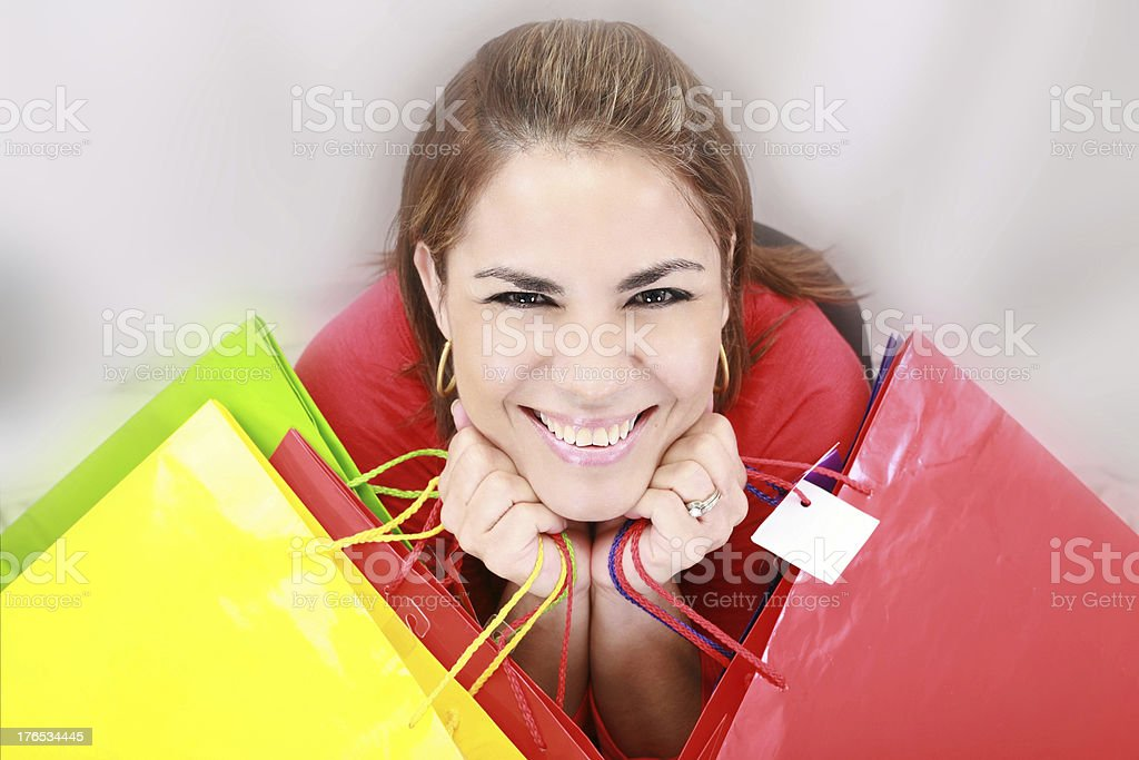 shopping woman holding bags royalty-free stock photo