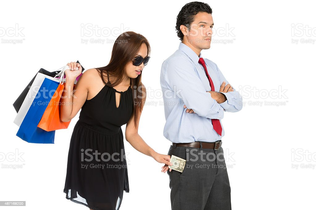 Shopping Woman Removing Money Standing Husband H stock photo