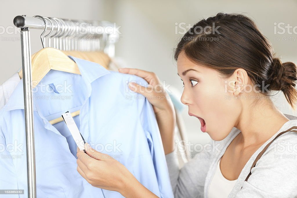 Shopping woman shocked stock photo