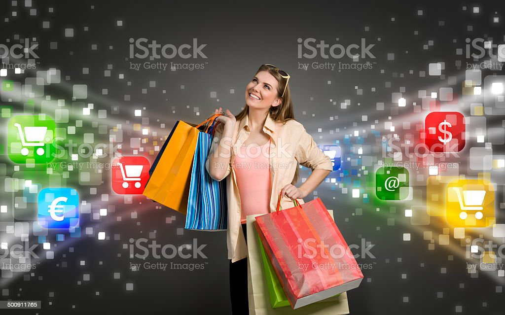 shopping woman surrounded by icons of e-commerce royalty-free stock photo