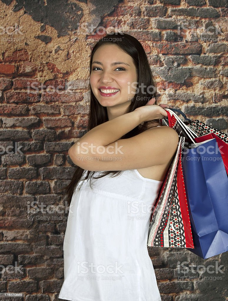 Shopping woman with smile royalty-free stock photo