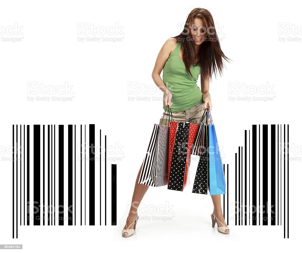 장보기를 여자 witn 매직기 입석 바 코드 - 로열티 프리 가방 스톡 사진