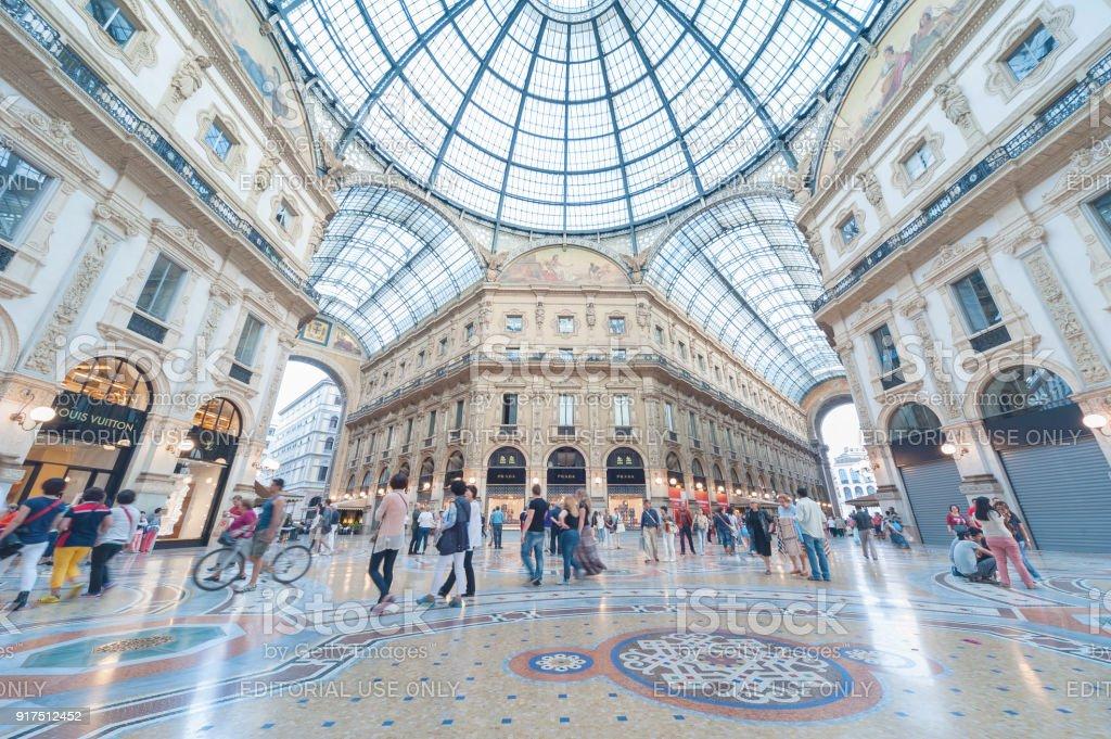 Shoppping Mall Galleria Vittorio Emanuele II in Milan, Italy stock photo
