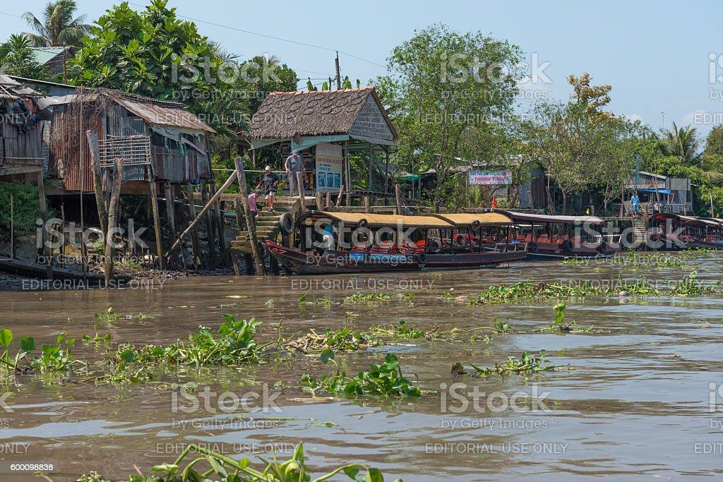 Shops along the Banks of the Mekong River stock photo