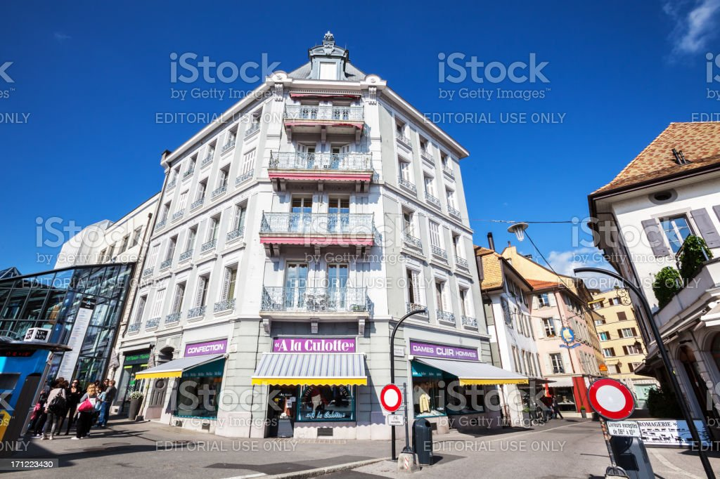 Shops and apartments in  Grande Place, Vevey, Switzerland stock photo
