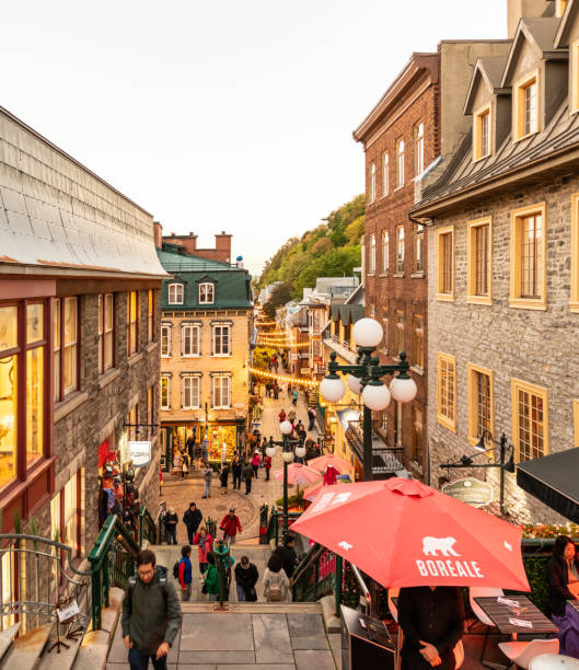 Shops and cafes in Old Quebec City in Canada stock photo
