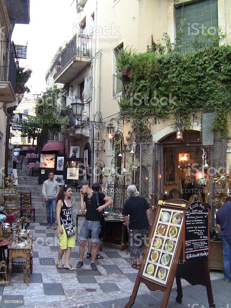 Shops And Restaurants In Taormina Sicily Stock Photo