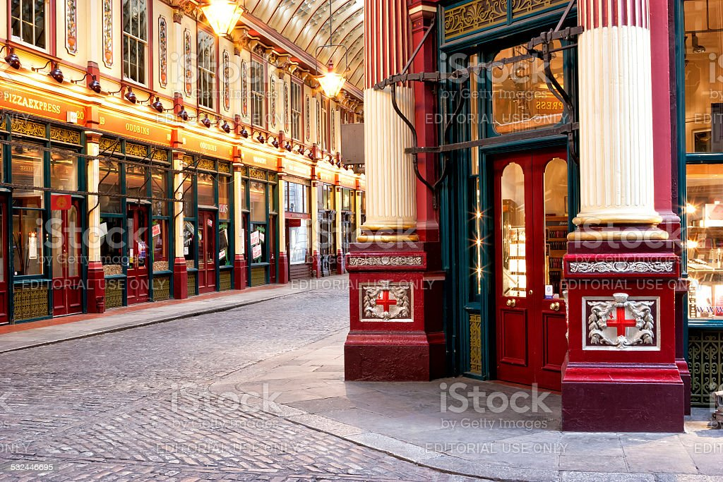 Shops and restaurants inside Leadenhall Market in City of London stock photo