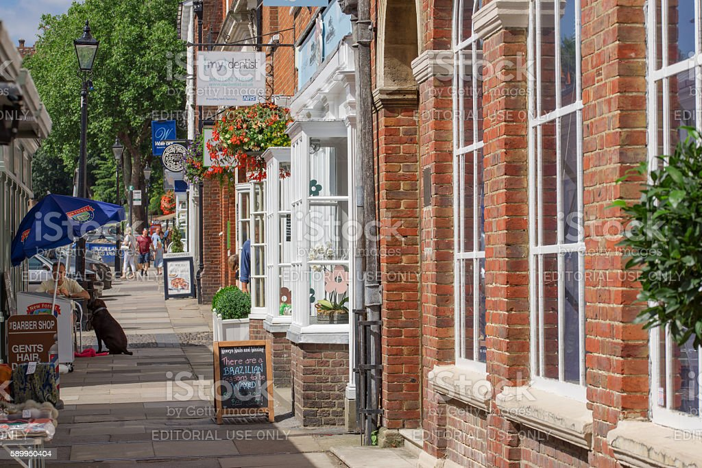 Shops and retail facilities in Castle Street, Farnham stock photo