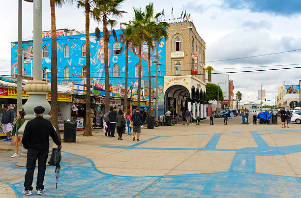 Shops and Stalls at Venice Beach, Los Angeles stock photo