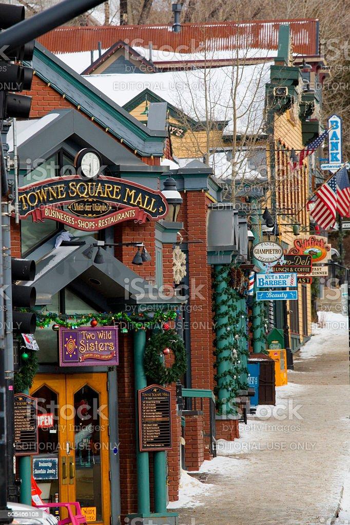 Shops and Street Scene in Breckenridge stock photo