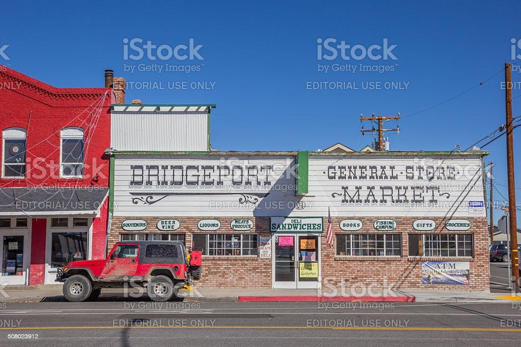 Shops at main street Bridgeport, California stock photo