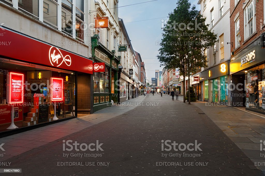 Shops at night on Clumber Street. In Nottingham, England. stock photo