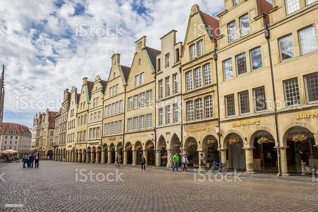 Shops at the historical Prinzipal market square in Munster stock photo