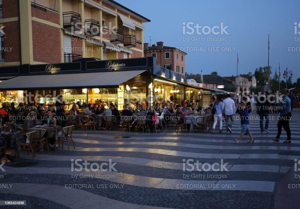 Shops, bars and restaurants in Lazise at Garda Lake. Italy
