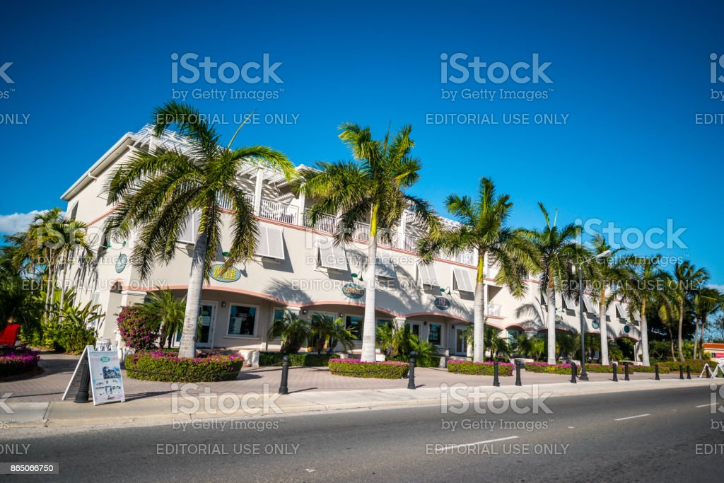 Shops, cafes and small business of Grace Bay, Turks and Caicos Islands stock photo