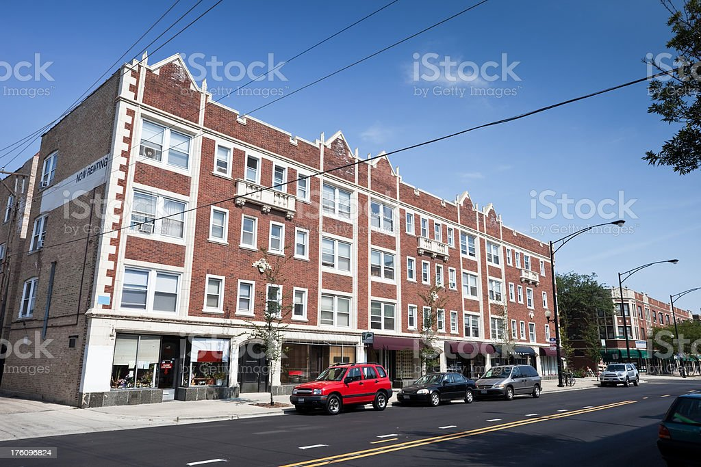 Shops in a Chicago North Side Neighborhood royalty-free stock photo