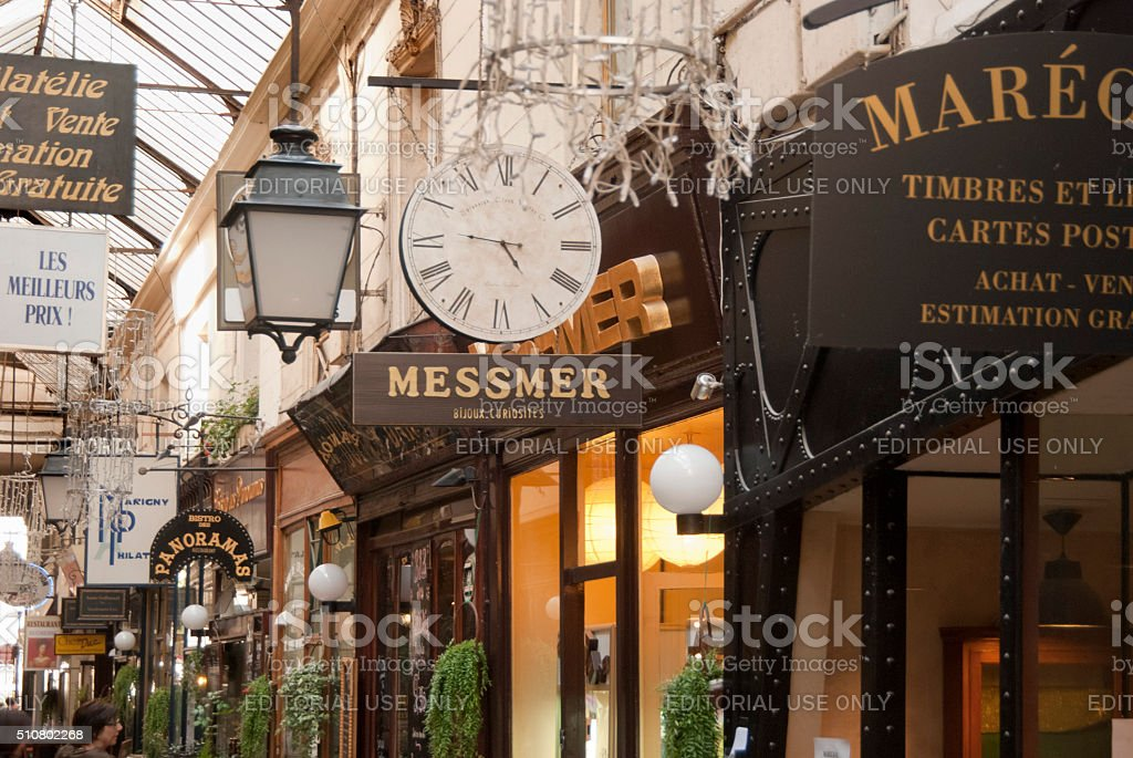 Shops in a Passage Couvert (shopping corridor) in Paris, France stock photo