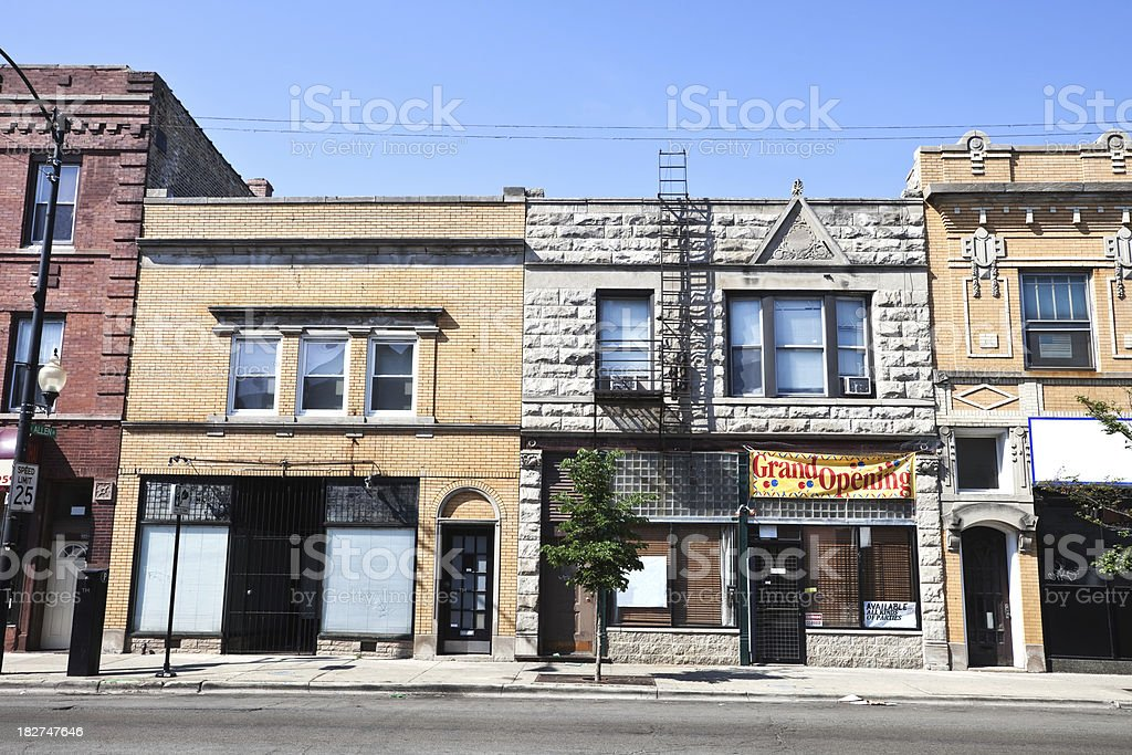 Shops in Avondale, Chicago royalty-free stock photo