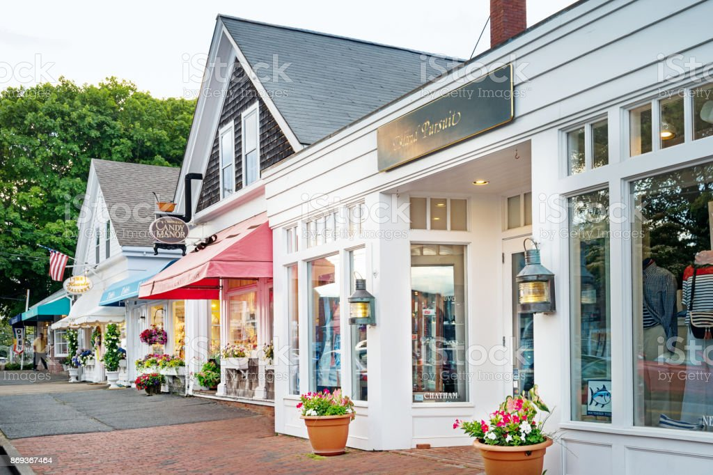 Shops in Chatham Cape Cod Massachusetts USA stock photo