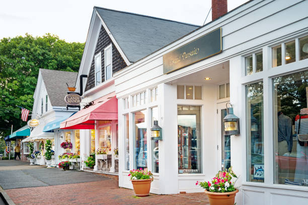 Shops in Chatham Cape Cod Massachusetts USA Stock photograph of a row of shops in Chatham, Cape Cod, Massachusetts, USA. cape cod stock pictures, royalty-free photos & images