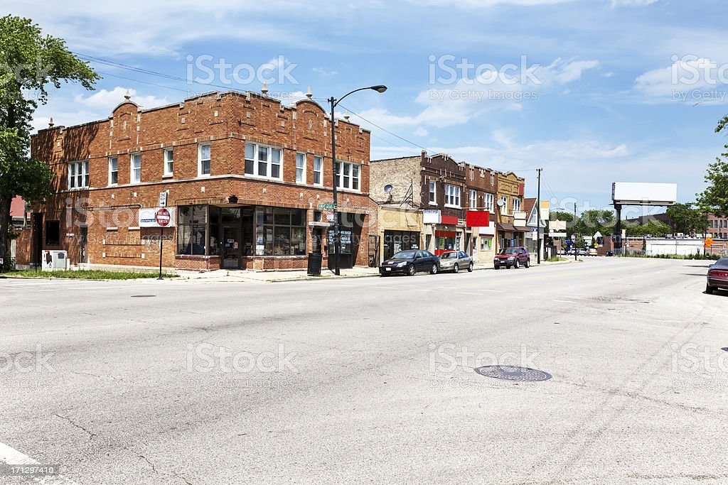 Shops in Edwardian Buildings,  Archer Heights, Chicago royalty-free stock photo