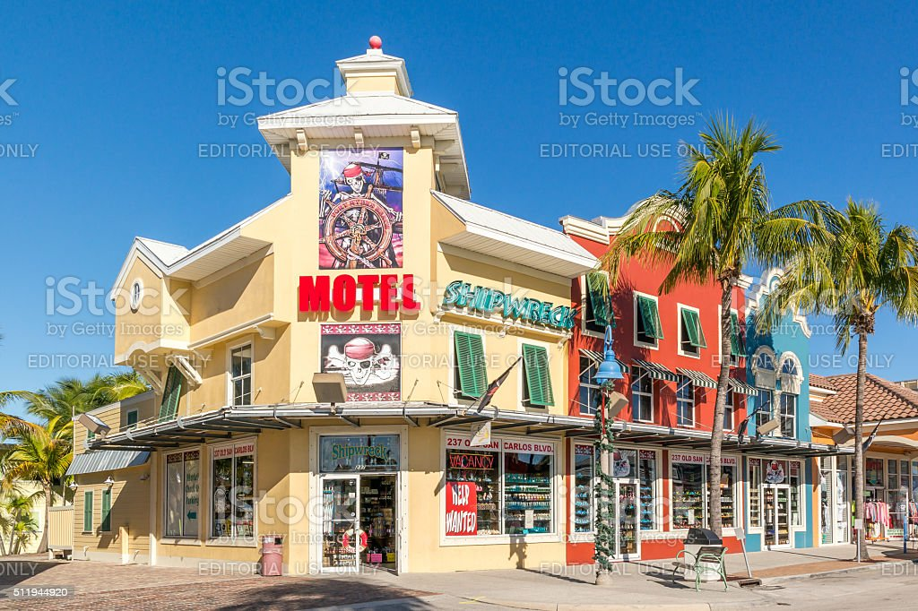 Shops in Fort Myers Beach, Florida, USA stock photo