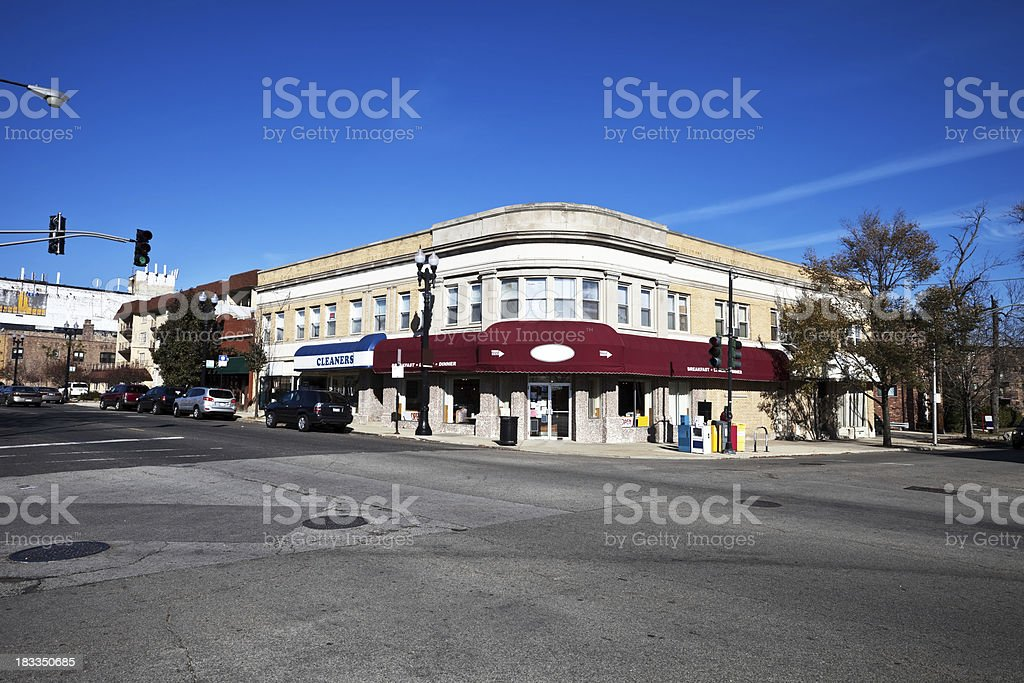 Shops in Norwood Park, Chicago royalty-free stock photo