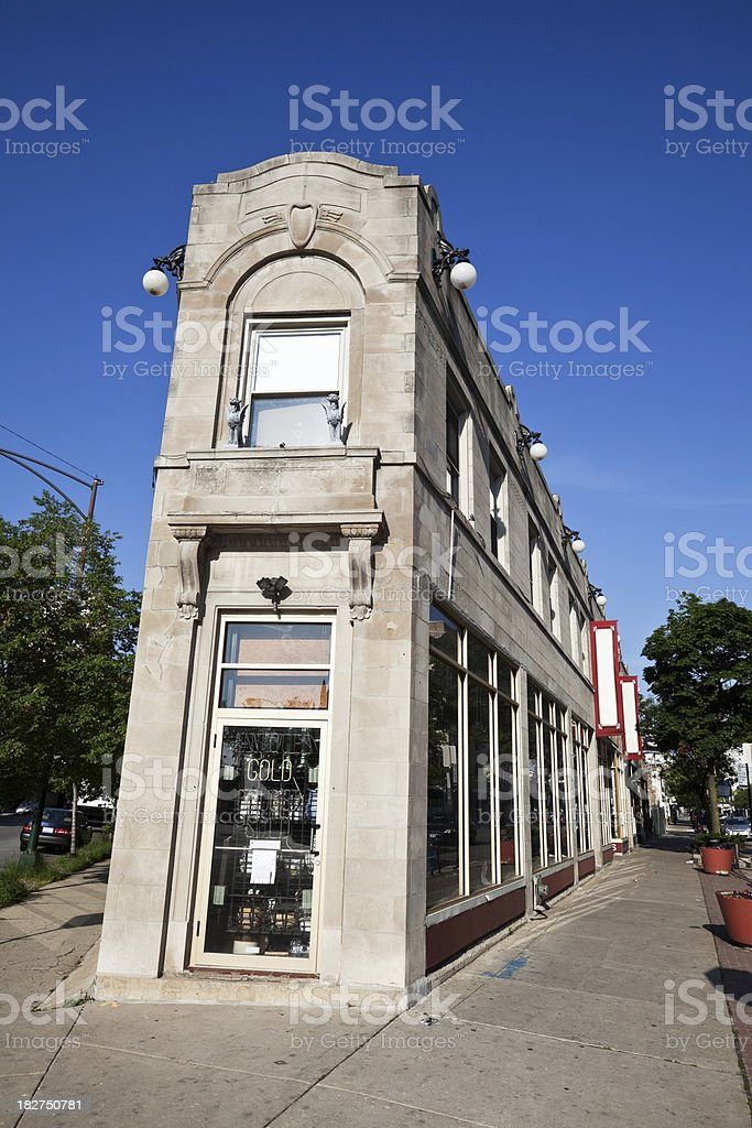 Shops in Rogers Park, Chicago stock photo