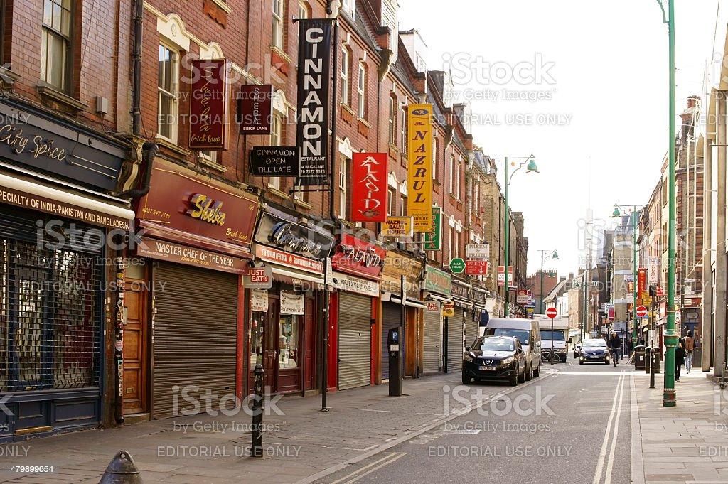 Shops in the Brick Lane London stock photo
