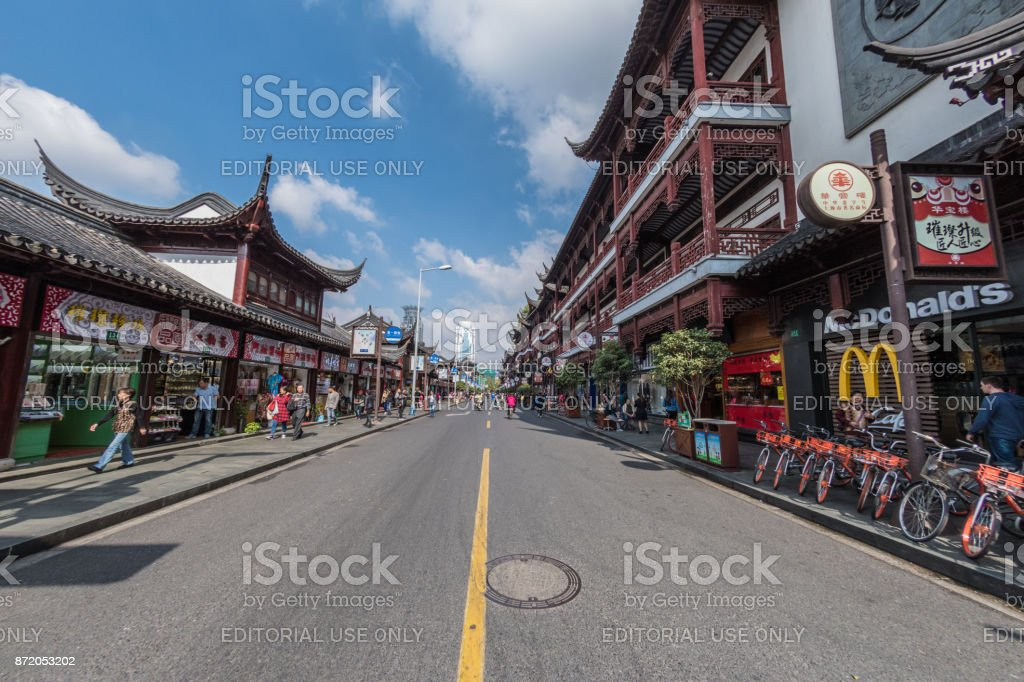 Shops in the Yu Garden area of Old City Shanghai stock photo