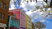 Willemstad, Curacao, February 19th, 2020: View Looking up at the Facades of a Parade of Shops