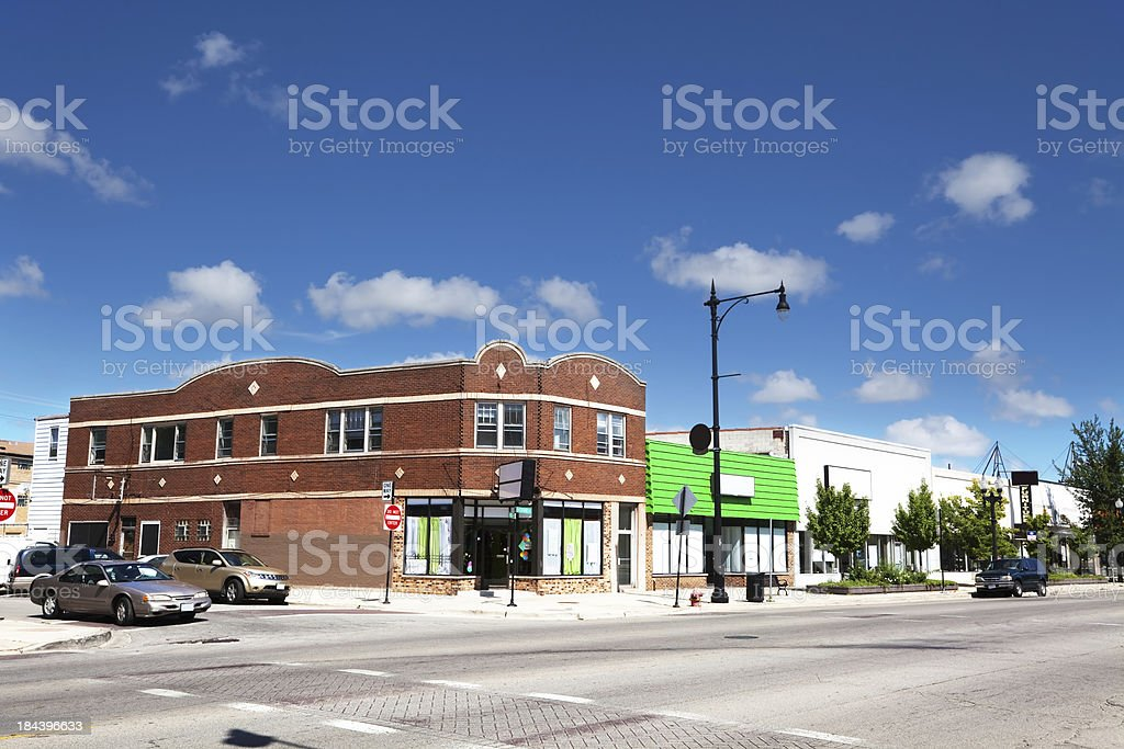 Shops on Grand Avenue in Montclare, Chicago royalty-free stock photo